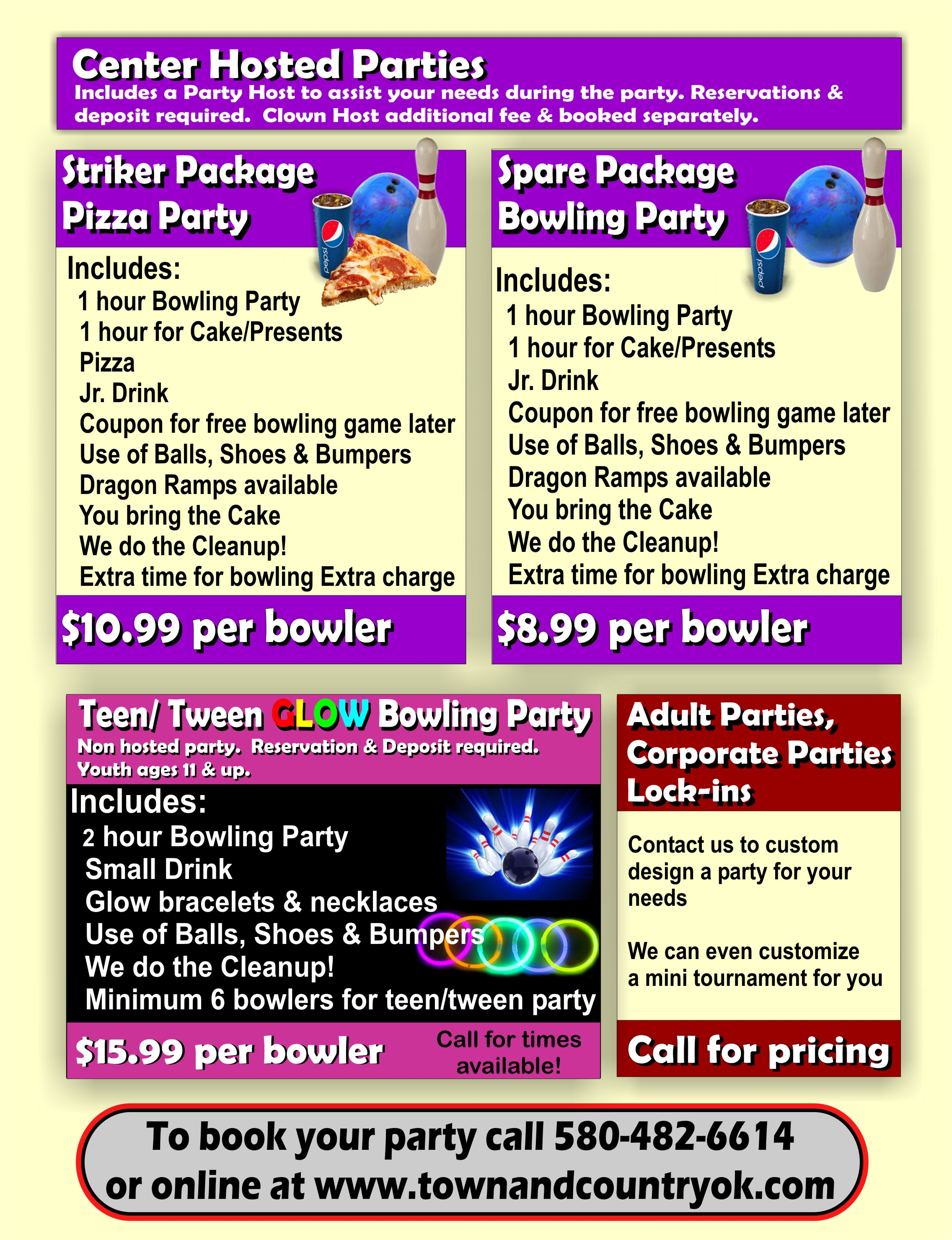 town & country lanes > parties > party planning info